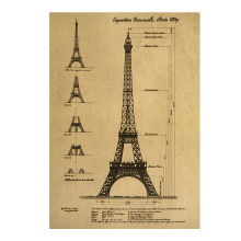 Room decoration Paris Eiffel Tower sketch paper kraft paper retro art wall sticker newspaper home bar cafe decoration painting