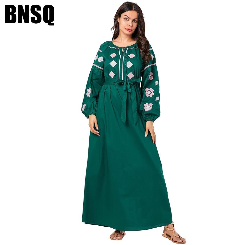 BNSQ Elegant Muslim Swing Long Dress Army Green Floral Embroidery Draped Patchwork Long Sleeve Dresses Tall Women Fall 2019