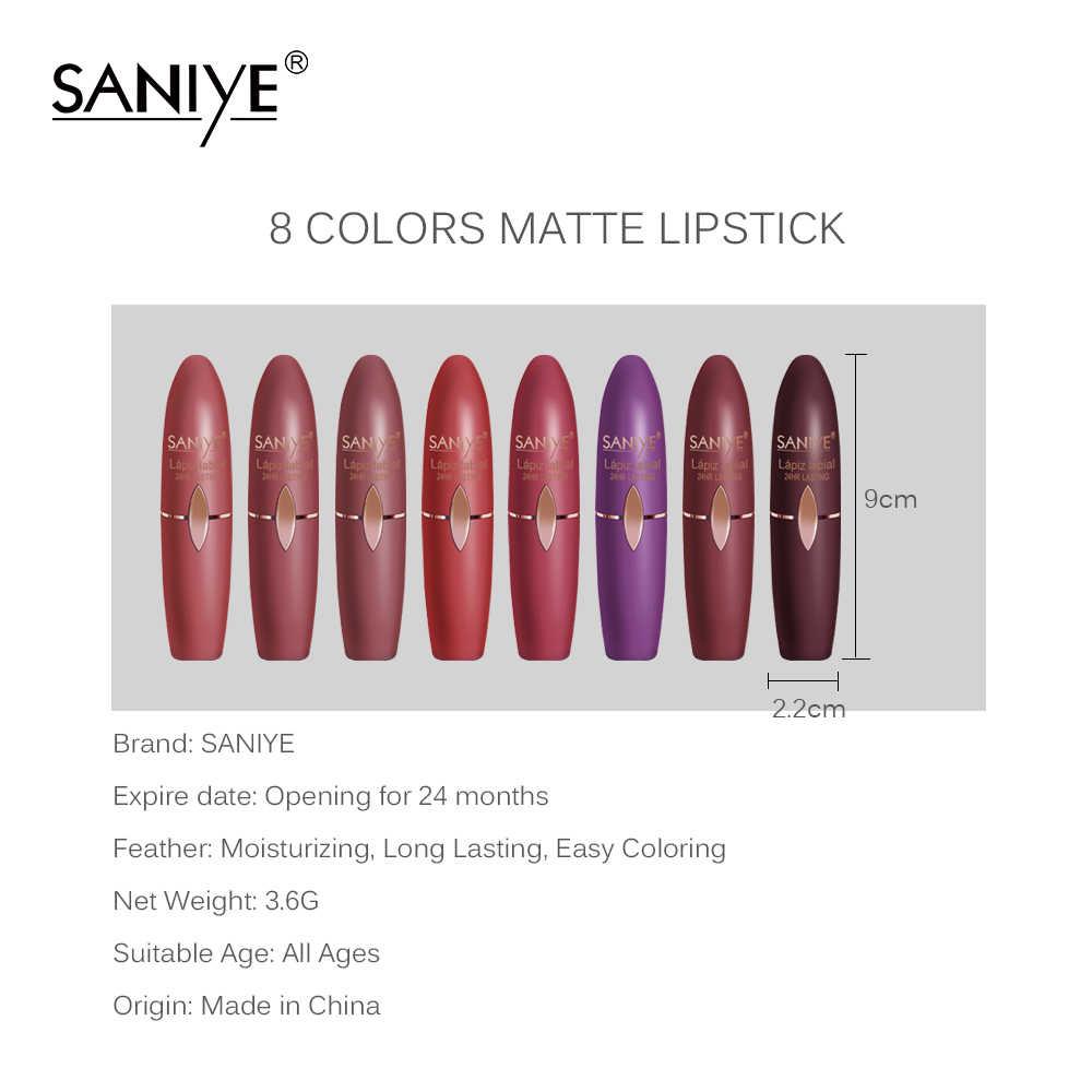 Lápiz labial púrpura SANIYE maquillaje de colores rojos lápiz labial mate lápiz labial impermeable lápiz labial largo labial duradero cosméticos maquilaje K1113