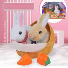 Sevimli elektrikli simüle tavşan şekli peluş bebek havuç yuva şekli oyuncak paskalya çocuklar için