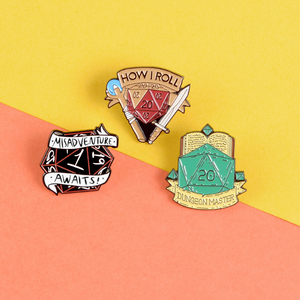 Dragon and Dungeon Dice enamel pin Black red green polygon badge Lapel pins brooches Game lovers gift Clothes bag Accessories(China)