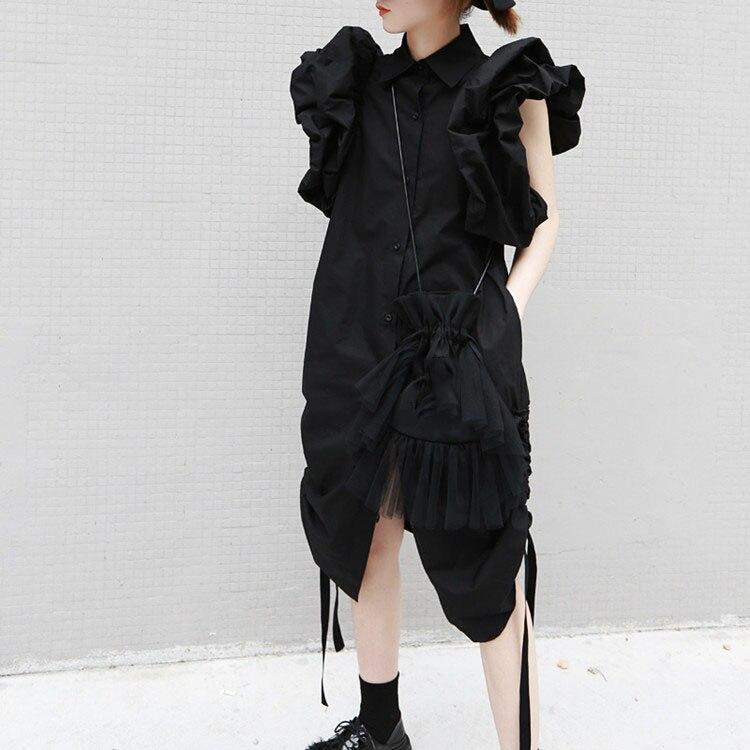 2019 automne femmes Streetwear chemise robe manches bouffantes tenue décontractée cordon élégant robe de soirée femme vêtements