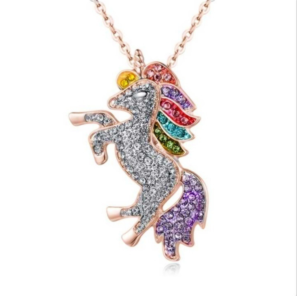 H24f8a6d887ed447ea8e32b67a1da9d08i - Cute Unicorn Necklace Fashion Cartoon Horse Jewelry Accessories For Girls Children Kids Women Party Animal Pendant Bracelet Set