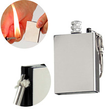 Keychain Lighter Striker Permanent Match Silver Waterproof Outdoor with Containing Cotton-Core
