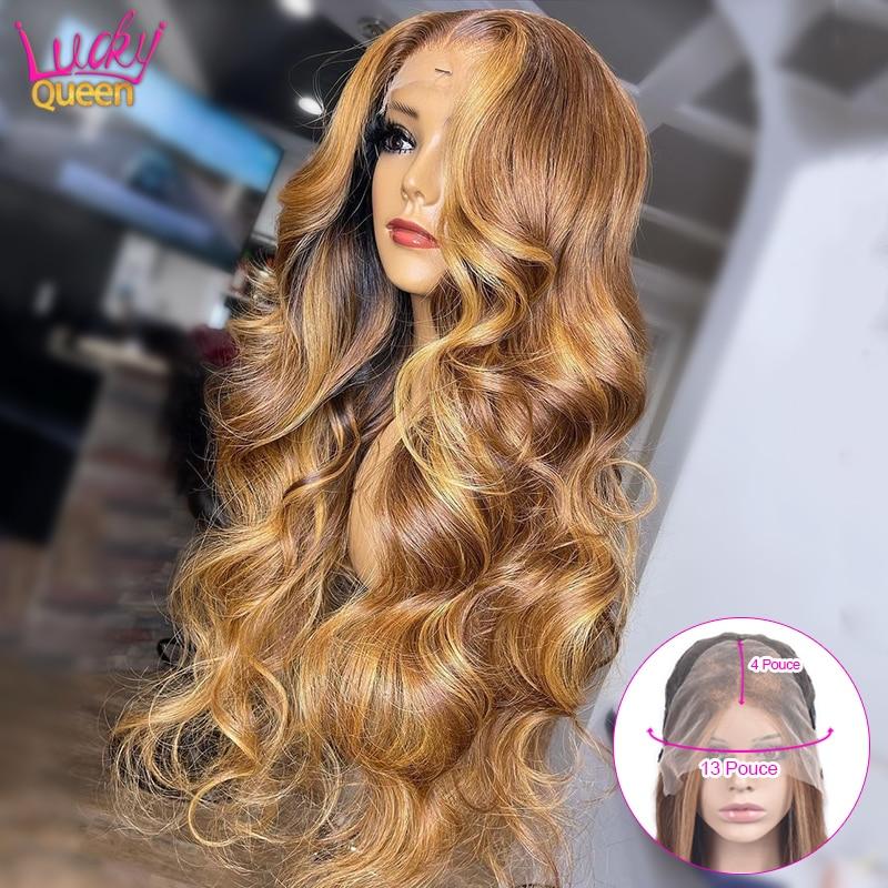 Парик Lucky Queen Honey со светлыми волосами, предварительные выщипанные передние волнистые, 13x4, из натуральных волос, для женщин