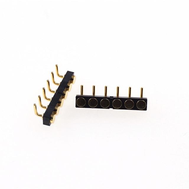 Connecteur de plaque cible   5 pièces 6 broches, pas de connecteur 2.54mm à travers un trou, rangée simple de 4.0mm hauteur à Angle droit, tête de Pogo femelle horizontale