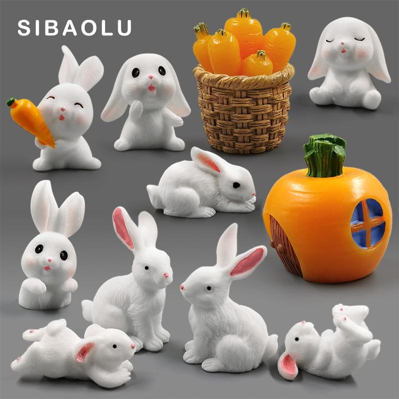 White Rabbit Easter Figurine Micro Landscape Diy Home Decor Miniature Fairy Garden Ornament Decoration Accessories Modern Gift