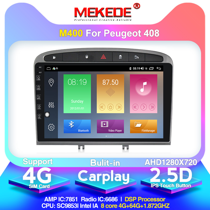MEKEDE Android 10.0 4+64G Car Stereo For 2010-2015 2016 PEUGEOT 308 408 With GPS Navigation Head Unit Mirror Link 4G WiFi