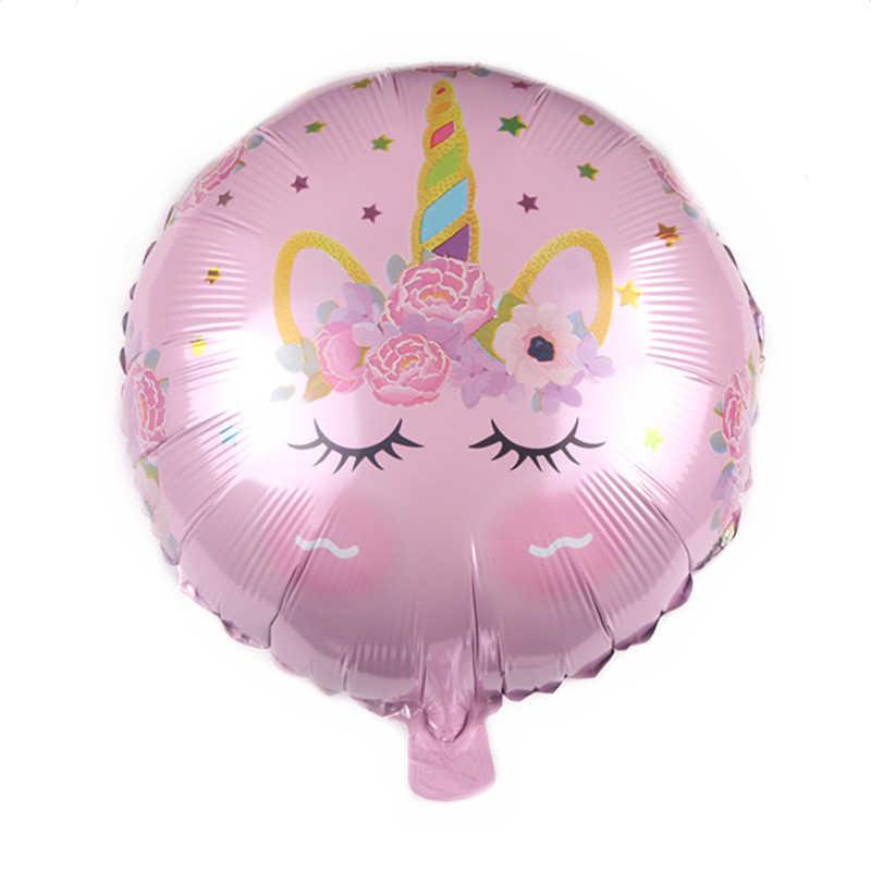"""Nuovo Disegno Festa di Compleanno 18 """"Round Forma di Unicorno Stagnola Pallone Ad Elio"""