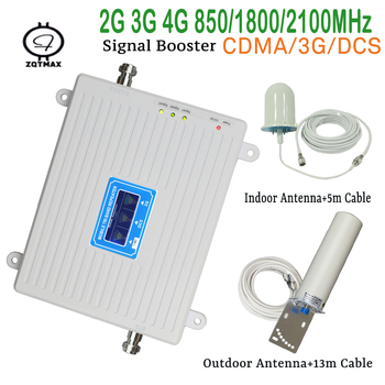 ZQTMAX tri band 2g 3g 4g gsm signal booster 850 1800 2100mhz cell phone signgal repeater