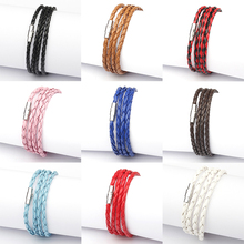 Fashion Handmade Wristband Wrap Cuff Unisex Women Men Braided PU Leather Bracelet