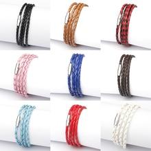 Fashion Handmade Wristband Wrap Cuff Unisex Women Men Braided PU Leather Bracelet