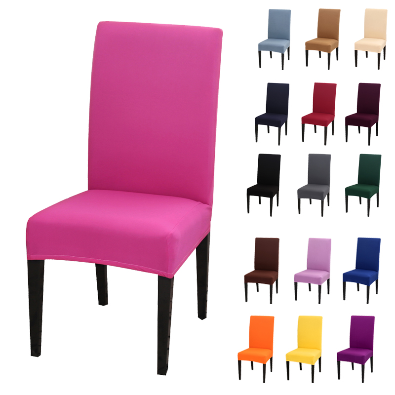 1pc Solid Color Chair Cover Spandex Stretch Elastic Slipcovers Chair Covers For Kitchen Dining Wedding Banquet Hotel