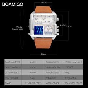 Image 4 - BOAMIGO marka erkek izle 3 saat dilimi büyük adam moda askeri LED İzle deri kuvars saatler orologio uomo relogio masculino