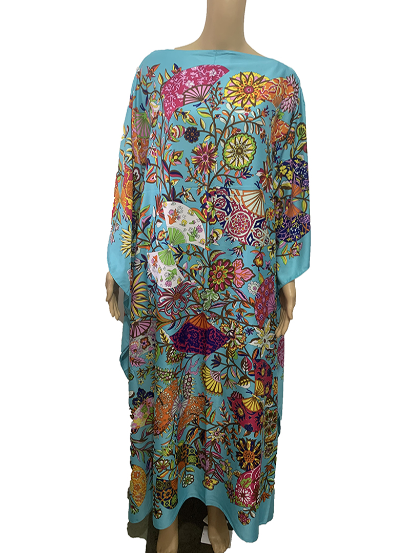 Popular Kuwait Printed мусульманская мода Silk Bohemian lady maxi dresses african dress women Plus size Summer Kaftan full dress