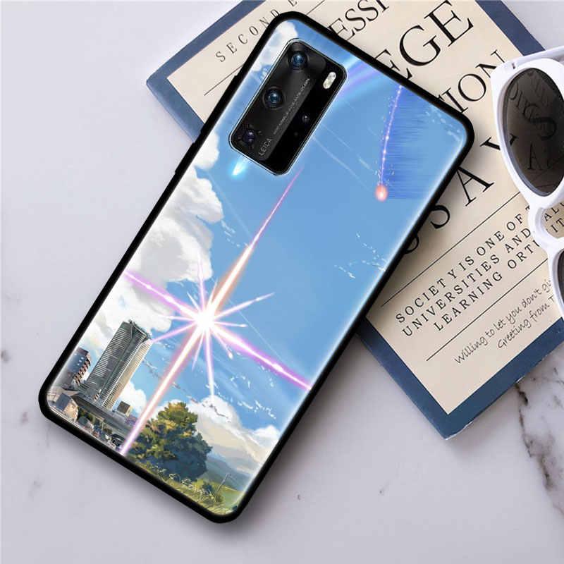Anime Il Vostro Nome Kimi no Na wa per il Caso di Huawei P20 P40 Lite E P30 Pro P10 P Smart Z più di 2019 Nero Del Telefono Del Silicone Borsette Copertura