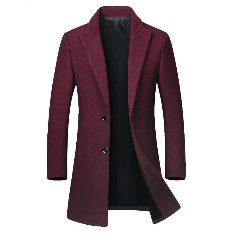 Winter Male Long Trench Coat Man Brown Warm Man Woolen Coat Korean Slim Fit Long Jacket Trench Male Casaco Masculino KK3109