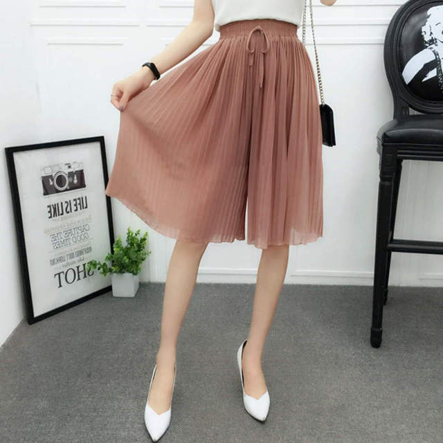 Chiffon Wide Leg Short Femme Trousers Women Loose Lace Up High Waist Knee Length Midi Pleated Summer Shorts Women Capris C7258 2