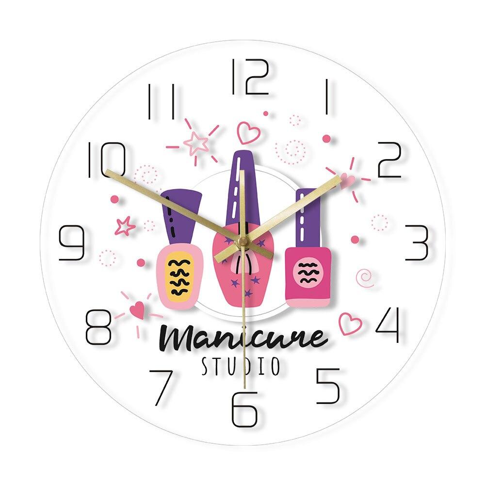 Manicure Studio Acrylic LED Edge Lit Wall Clock Transparent Print Luminous Quartz Watch Custom Nail Polish Salon Magical Light