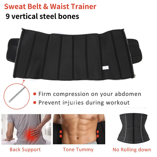 Men Neoprene Sauna Waist Trainer Corset Men Slimming Body Shaper Sweat Belt Weight Loss Compression Trimmer Workout Fitness 4