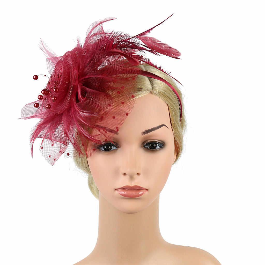 Grampo de cabelo feminino pena casamento casual fascinator great gatsby bandana pérola charleston festa nupcial floral igreja headwear novo