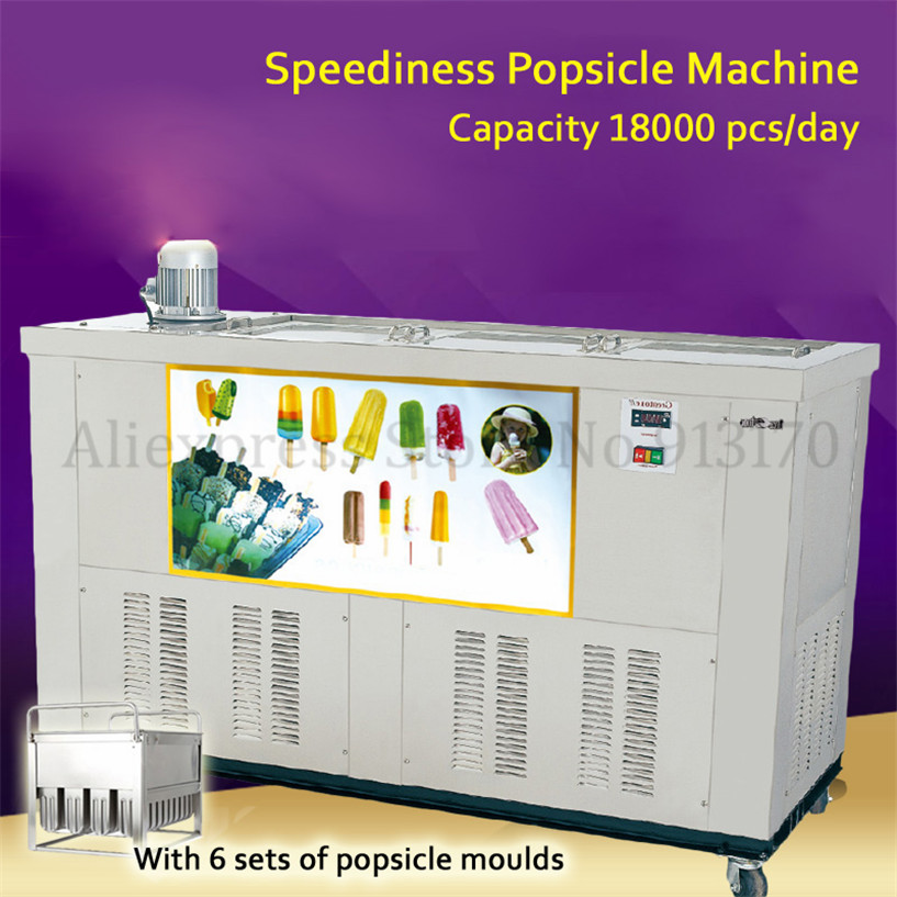 Commercial Ice Pop Machine Speediness Popsicle Ice Cream Bar Making Machine 6 Molds Capacity 18000 pieces/day CE PBZ 06 Ice Cream Makers     - title=
