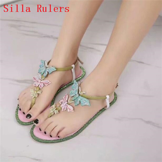 Hot Crystal Three Butterfly sandalias mujer 2019 T-strap Flats Women Sandals Leather Flip Flops Sandals Women Summer Shoes Woman (2)