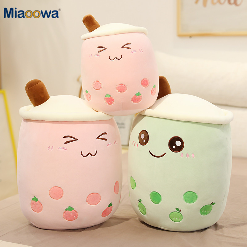 25 70cm cute cartoon Fruit bubble tea cup shaped pillow with suction tubes real life stuffed soft back cushion funny boba food|Stuffed & Plush Animals|   - AliExpress