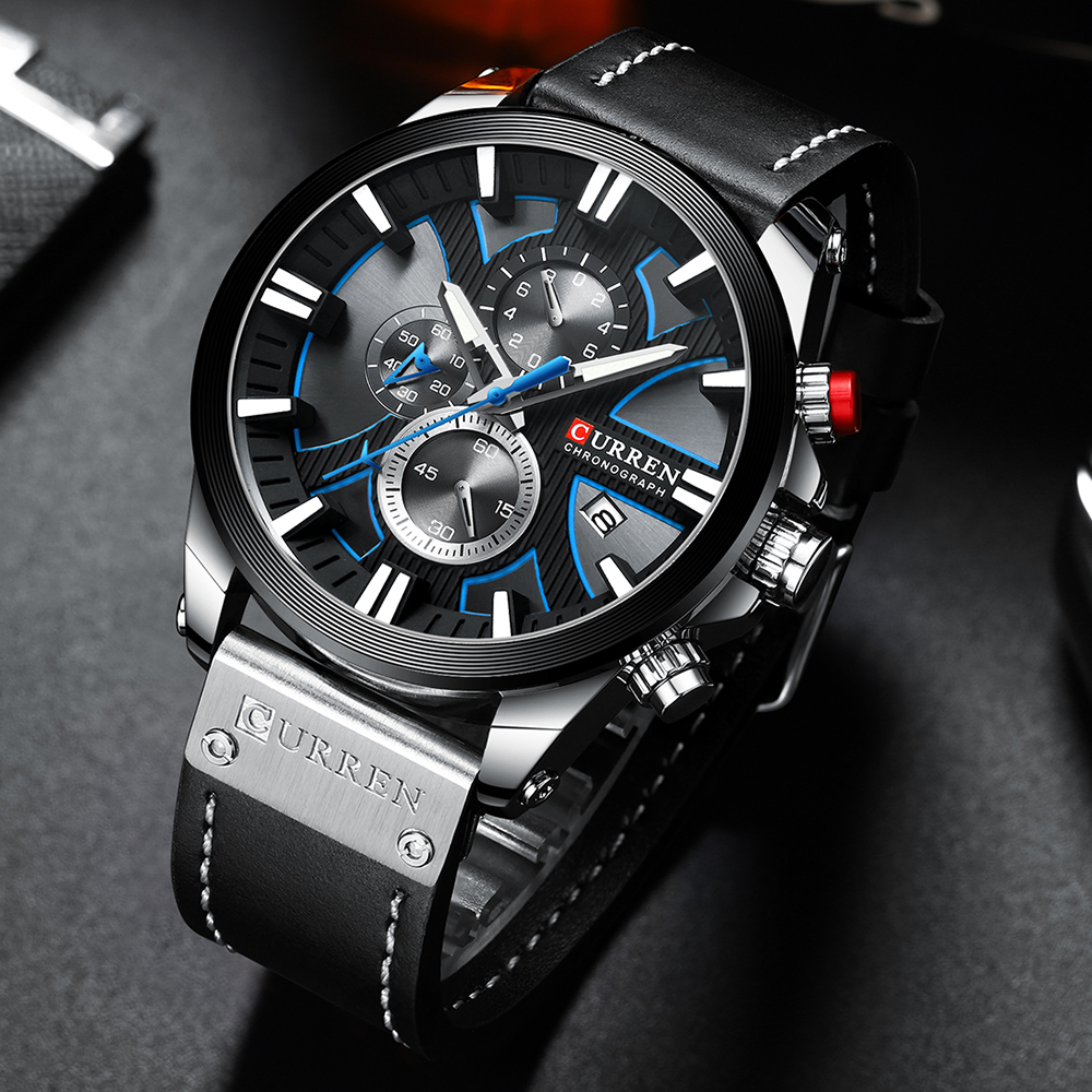 CURREN Fashion Chronograph Clock Men Leather Watch Casual Sport Watches For Men Quartz Wristwatch Relogio Masculino