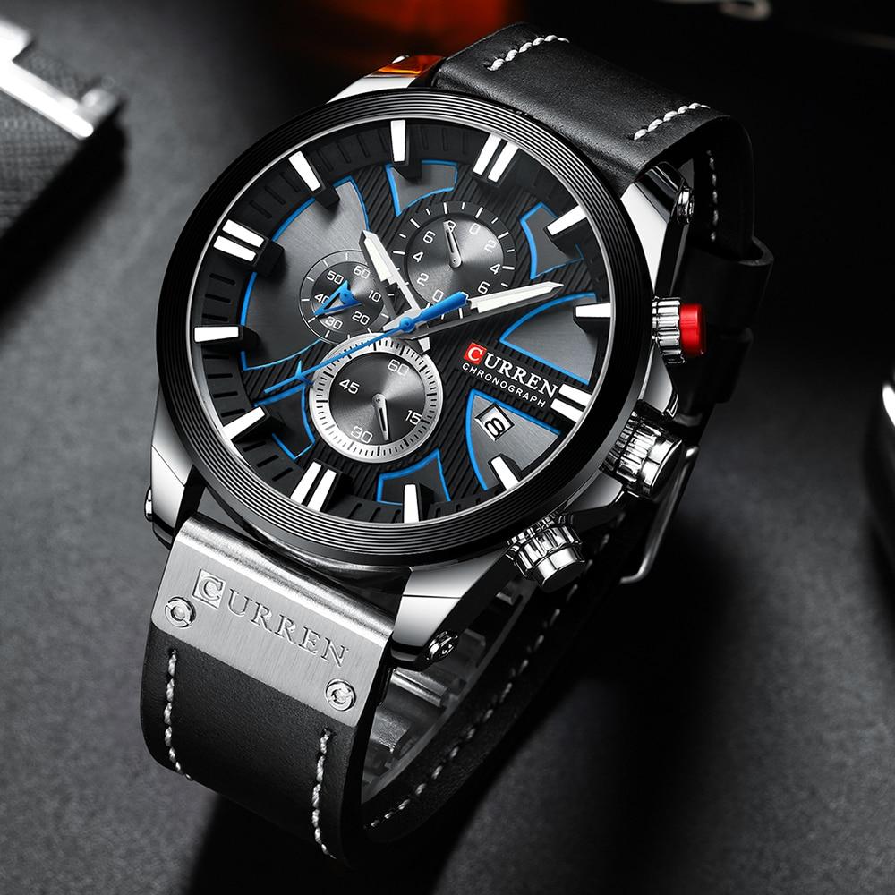CURREN Fashion Chronograph Clock Men Leather Watch Casual Sport Watches For Men Quartz Wristwatch Relogio Masculino