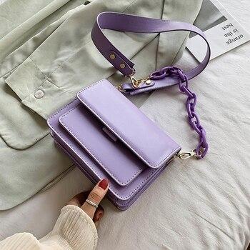 Chain Design New Mini PU Leather Flap Bags For Women 2020 Summer Lady Shoulder Handbag Female Fashion Cross Body Bag