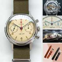 Mężczyzna 1963 Pilot zegarek chronograf ST19 ruch Sapphire Dial zegar Flieger Explorer mężczyźni mechaniczne zegarki na rękę NATO styl