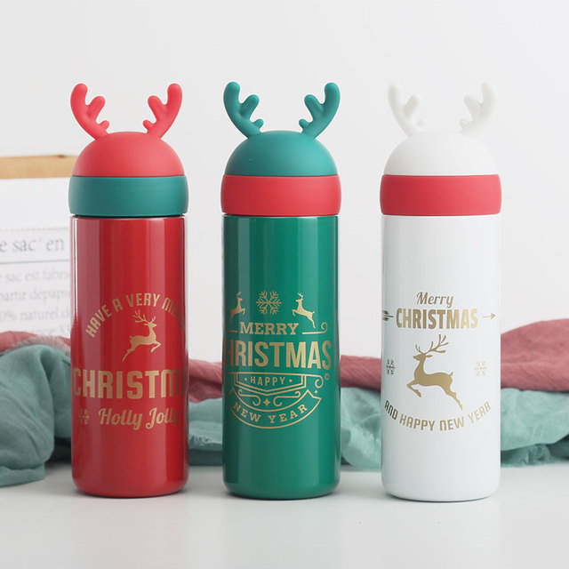 330ML Christmas Elk Stainless Steel Insulation Cup Men and Women Couple Gifts Cup Cute Girl Heart Cartoon Gift Cup cheap NoEnName_Null Adults Water Bottles Eco-Friendly zy061 Direct Drinking TOUR Equipped Thermal Insulation In-Stock Items With Lid