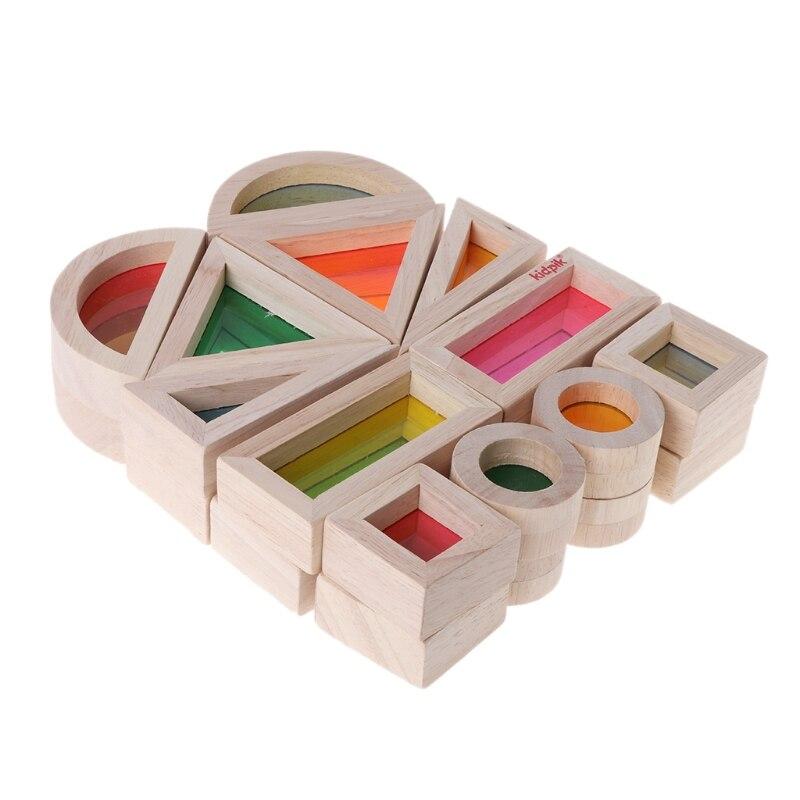Радужный акриловый Деревянный конструктор, детская развивающая игрушка Монтессори, детская игрушка