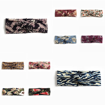 Women Twisted Knotted Headband Summer Bohemia Floral Wide Stretch Hair Band for Girls Elastic Turban Flower Spa Headbands image