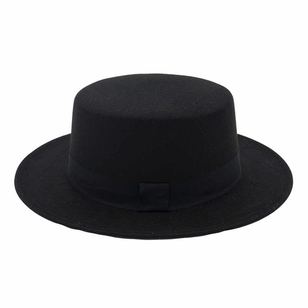 Fedora Hat Wide Brim Wool Hat Women Felt Flat Top Fedora Sun Hat Party Church Trilby Hats Cap Muts Bonnet Sombrero Mujer Шляпа