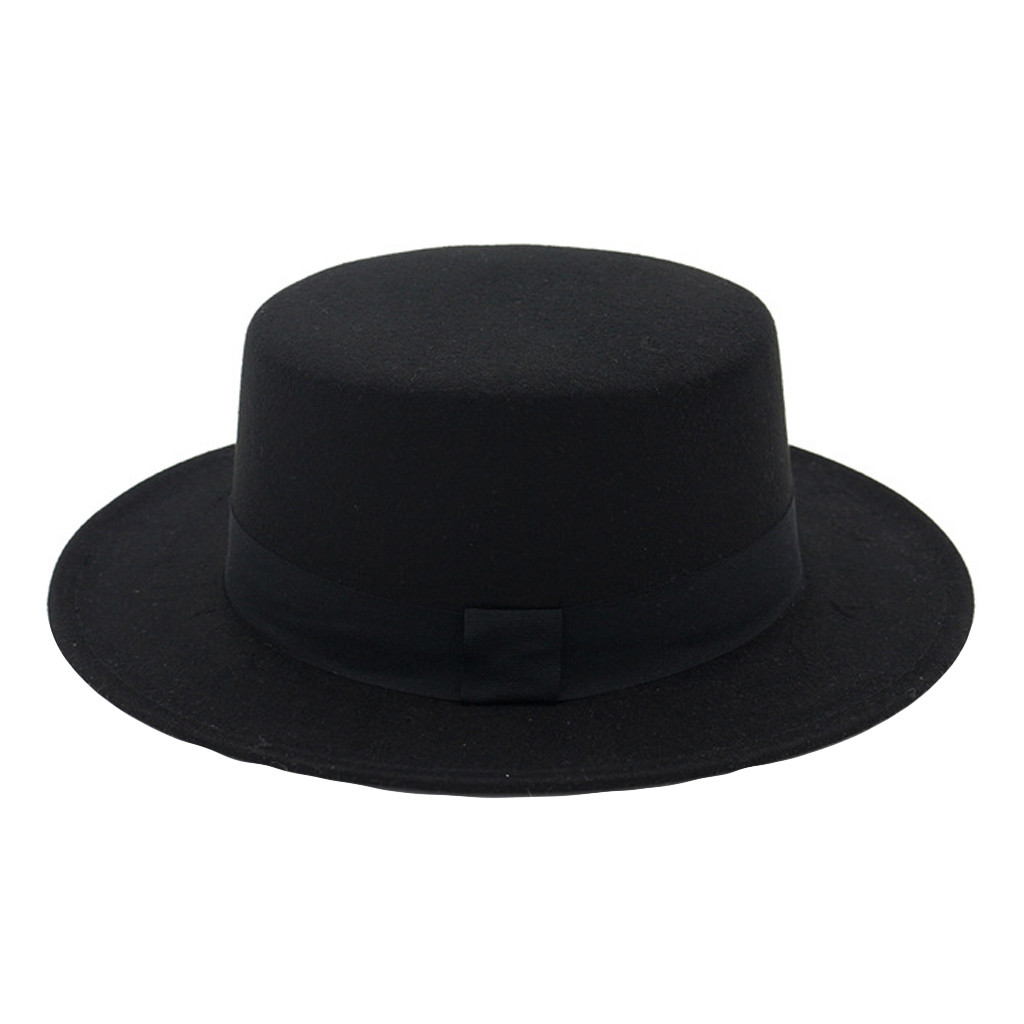 Fedora Hat Wide Brim Wool Hat Women Felt Flat Top Fedora Sun Hat Party Church Trilby Hats Cap Muts Bonnet Sombrero Mujer Шляпа