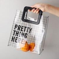 Новая прозрачная сумка из ПВХ Водонепроницаемый Коробки для обедов сумка для хранения модная, сумка, шоппинга Овощной многоразовые сумочки...