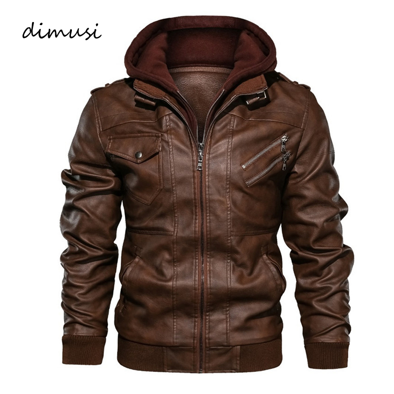 DIMUSI Winter Men's Leather Jackets Casual Man Motorcycle Leather Hooded Coats Male Business PU Biker Leather Jackets Clothing