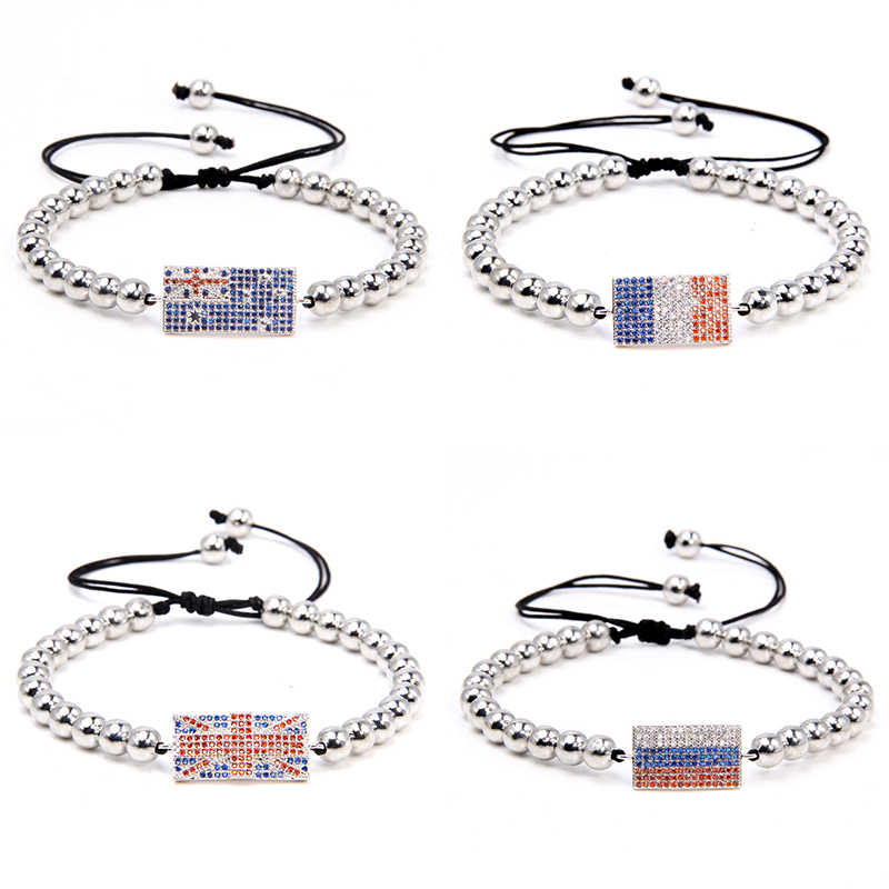 Australië Vlag Armbanden Mannen Verstelbare Handgemaakte Armband Canada Verenigde Koninkrijk Mode Lucky Sieraden Russische Vrouwen Franse Mannen