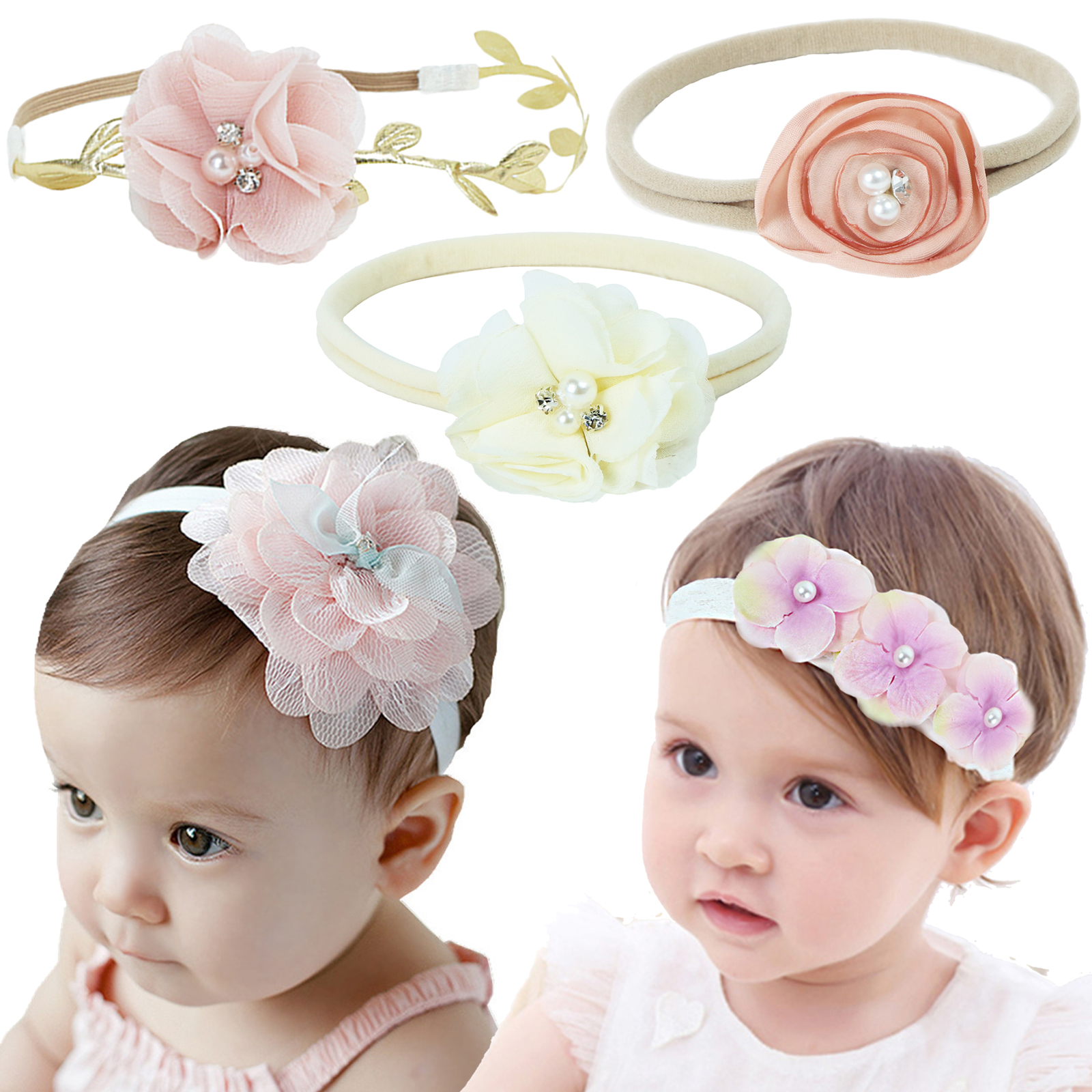 2 Pcs Fashion Baby Girl Hairband Toddlers Infant Cloth Headbands Floral Pearl Headwrap Women Summer Wear Cute Hair Accessories