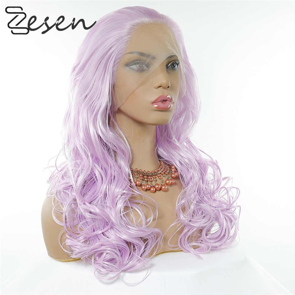 Zesen fioletowy kolor peruka z prostymi włosami 13 × 4 koronki przodu włosów syntetycznych dla czarnych kobiet z dzieckiem włosy wstępnie oskubane 180% gęstości