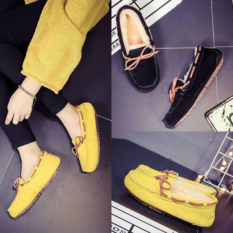 2020 Giày Nữ Mùa Đông Ấm Nam Da Thật 100% Chính Hãng Da Đơn Giản Thoải Lười Slip On Nữ Đế Bằng Sang Trọng Giày Mộc Mạch Trà nữ