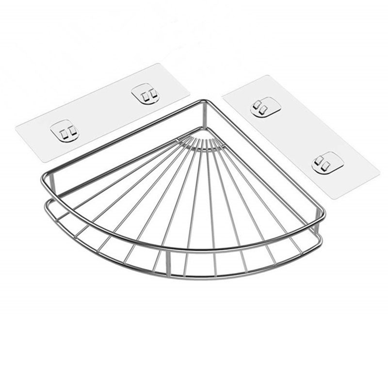 Corner Shelf Bathroom Adhesive Shower Caddy Basket Wall Mounted Storage Organizer For Kitchen Toilet Stainless Steel - No Drilli