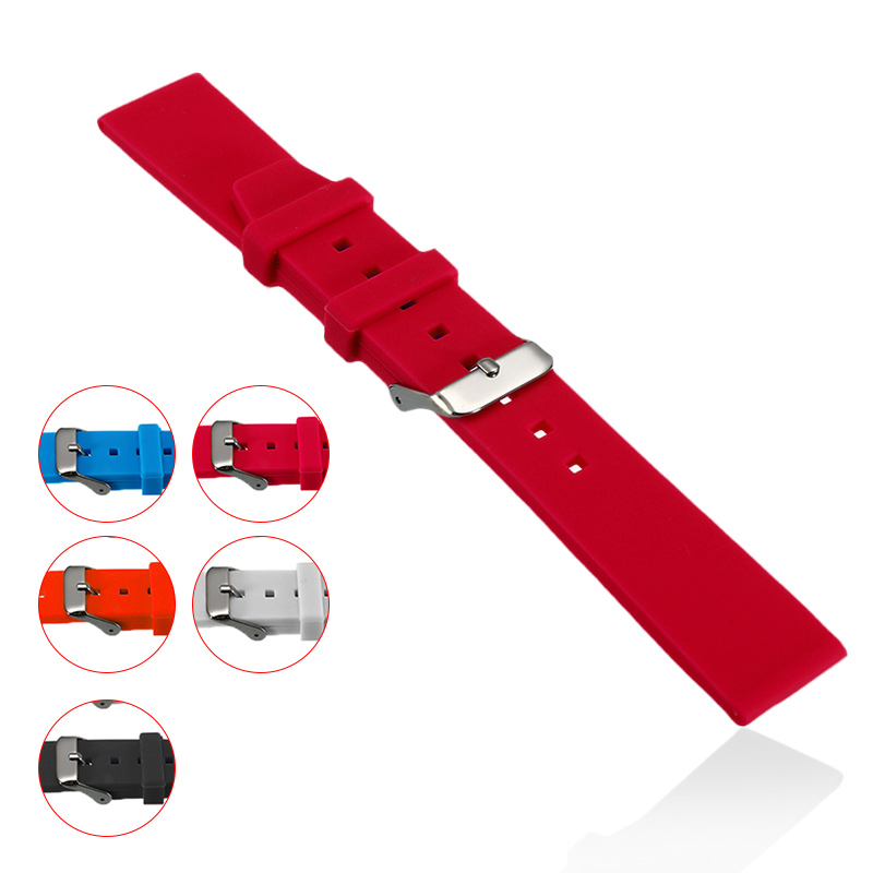 16/18/20/22/24/26/28mm Multi Color Watchbands Watch Strap Rubber Silicone Watchband With Stainless Steel Buckle