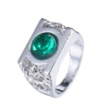 New Style Green Lantern Ring the Green Crystal Green Lantern Power Ring for Men Creative Silver Ring Women(China)