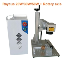 20W 30W Raycus split fiber laser marking machine metal marking machine laser engraving machine stainless steel with rotary axis laser marking engraving machine 3 axis moving table 210 150mm working size portable cabinet case xyz axis table