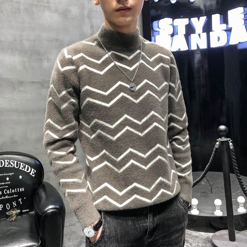 Pullover 2020 Man Personality Joker Stripe Pullover Self-cultivation Sweater Jersey Navidad Hombre Jersey Hombre Invierno