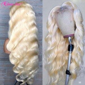 Бразильский Волнистый парик 613, кружевной передний парик, 13х4, блонд, кружевные передние человеческие волосы, парики для черных женщин, предв...