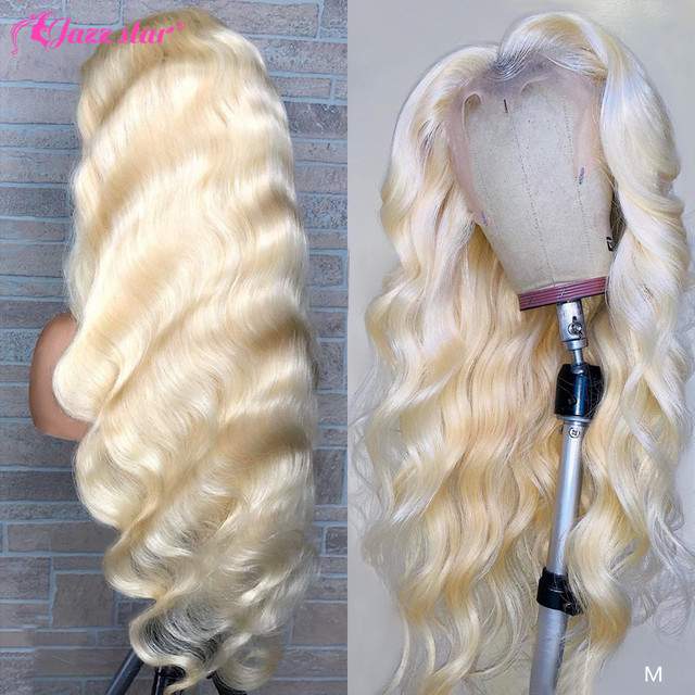 $ US $63.25 Brazilian Body Wave Wig 613 Lace Front Wig 13x4 Blonde Lace Front Human Hair Wigs for Black Women Pre Plcuked Non-Remy Jazz Star